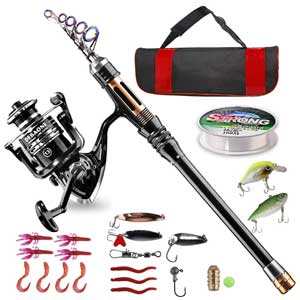 lueFire Carbon Fiber Telescopic Pole and Reel Combo. Line, Lure, Hooks and Carrier Bag