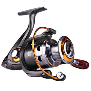 Spinning Fishing Reels with Wood Handle Metal Body